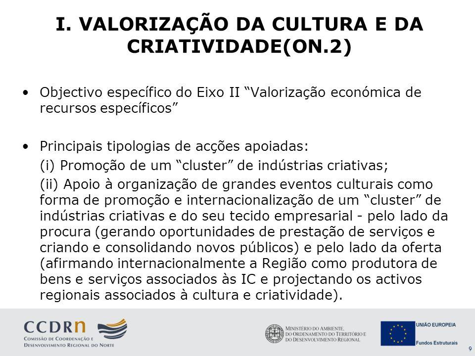 9 I. VALORIZAÇÃO DA CULTURA E DA CRIATIVIDADE(ON.2) Objectivo específico do Eixo II Valorização económica de recursos específicos Principais tipologia