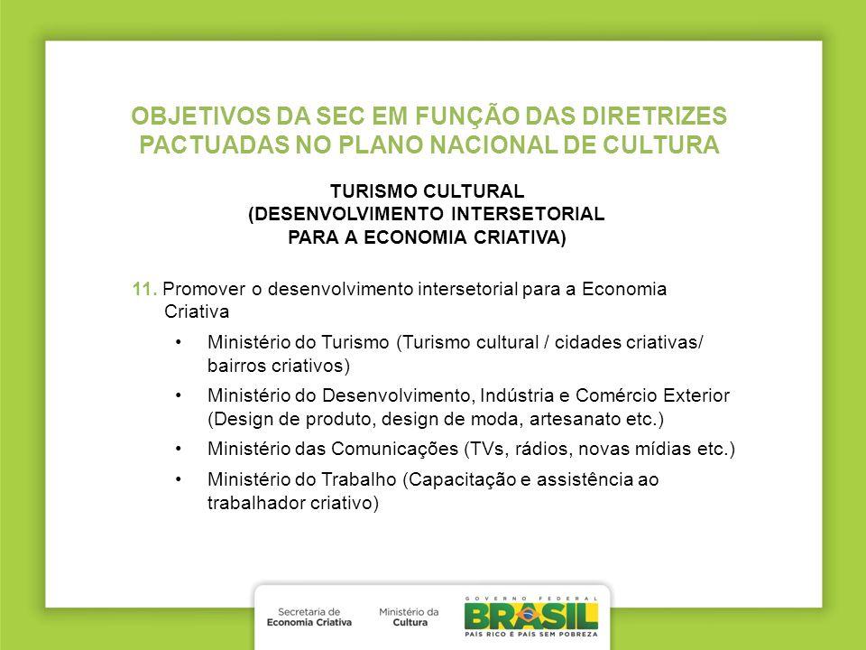 TURISMO CULTURAL (DESENVOLVIMENTO INTERSETORIAL PARA A ECONOMIA CRIATIVA) 11. Promover o desenvolvimento intersetorial para a Economia Criativa Minist