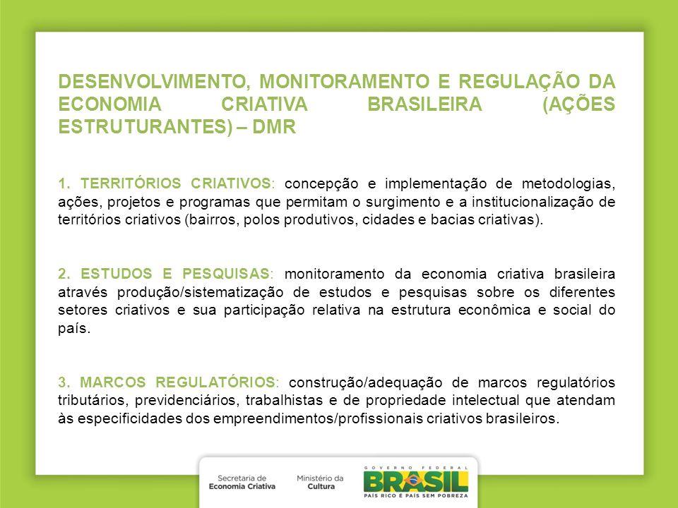 DESENVOLVIMENTO, MONITORAMENTO E REGULAÇÃO DA ECONOMIA CRIATIVA BRASILEIRA (AÇÕES ESTRUTURANTES) – DMR 1. TERRITÓRIOS CRIATIVOS: concepção e implement