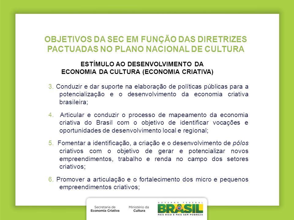 3. Conduzir e dar suporte na elaboração de políticas públicas para a potencialização e o desenvolvimento da economia criativa brasileira; 4. Articular