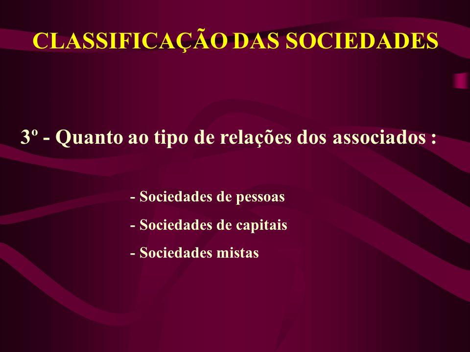 CLASSIFICAÇÃO DAS SOCIEDADES 3º - Quanto ao tipo de relações dos associados : - Sociedades de pessoas - Sociedades de capitais - Sociedades mistas