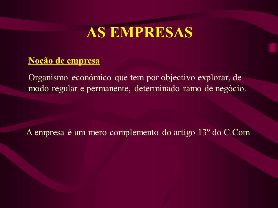 AS EMPRESAS Noção de empresa Organismo económico que tem por objectivo explorar, de modo regular e permanente, determinado ramo de negócio.