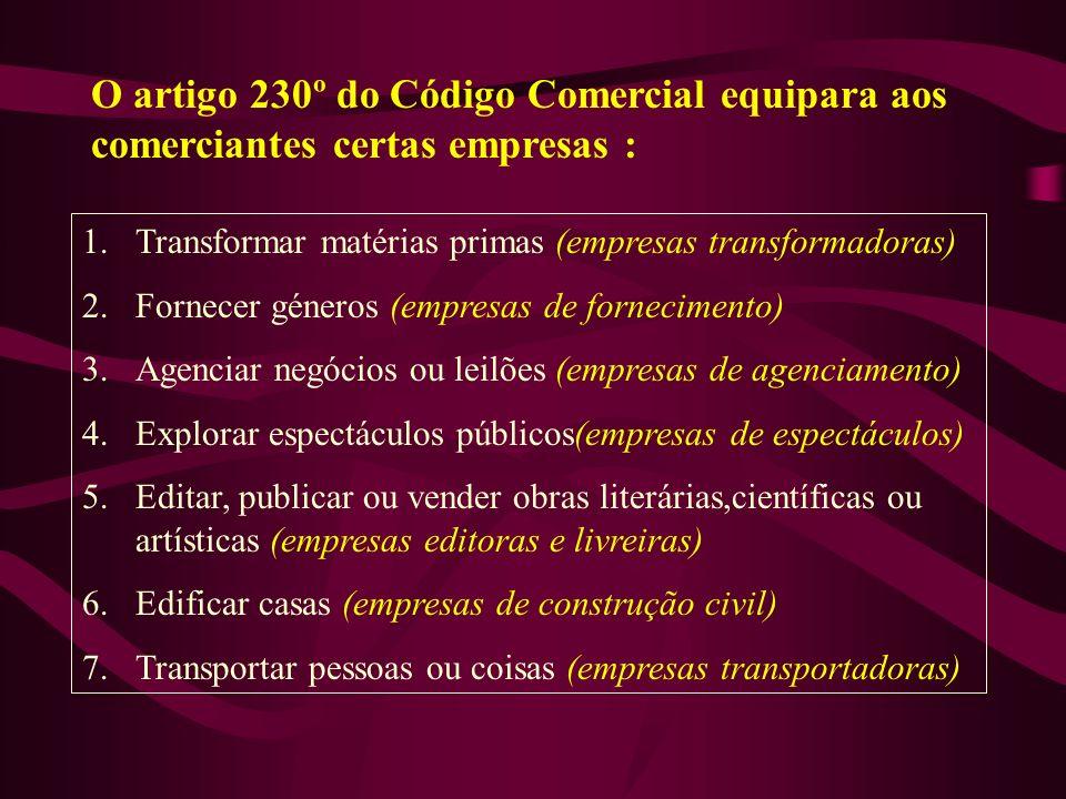 O artigo 230º do Código Comercial equipara aos comerciantes certas empresas : 1.Transformar matérias primas (empresas transformadoras) 2.Fornecer géne