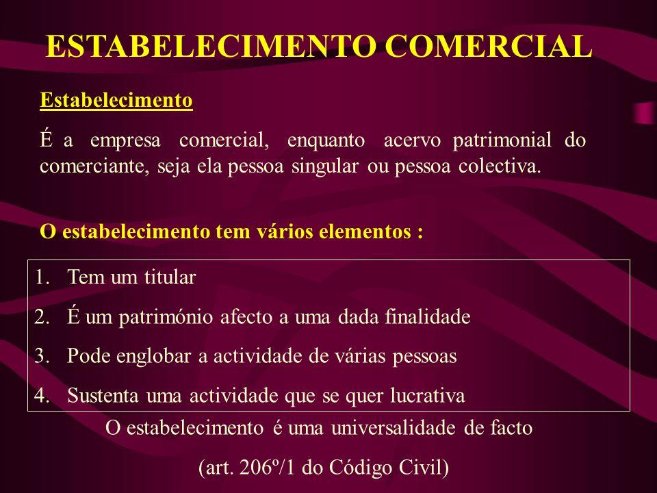 ESTABELECIMENTO COMERCIAL O estabelecimento tem vários elementos : 1.Tem um titular 2.É um património afecto a uma dada finalidade 3.Pode englobar a a