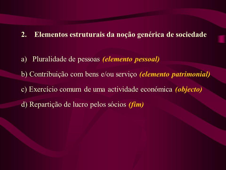2. Elementos estruturais da noção genérica de sociedade a)Pluralidade de pessoas (elemento pessoal) b) Contribuição com bens e/ou serviço (elemento pa