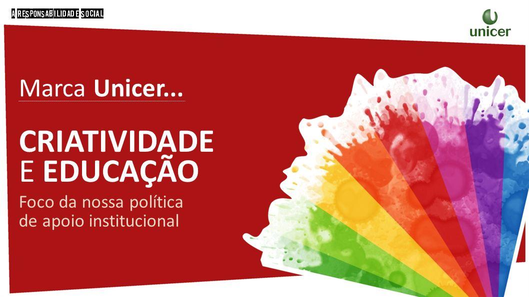 CRIATIVIDADE E EDUCAÇÃO Foco da nossa política de apoio institucional Marca Unicer...
