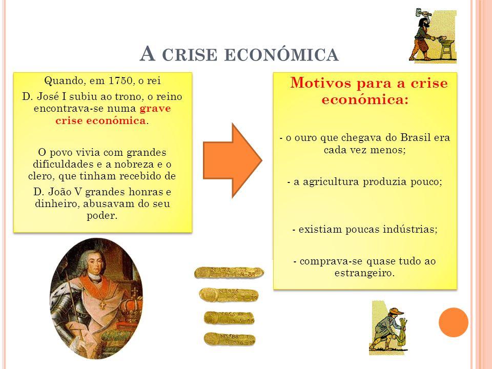 A CRISE ECONÓMICA Quando, em 1750, o rei D.
