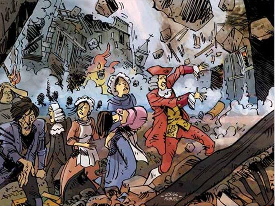 O T ERRAMOTO DE 1755 No dia 1 de Novembro de 1755 ( Dia de Todos-os Santos- feriado religioso), um violento terramoto destruiu a parte baixa da cidade de Lisboa e provocou enormes incêndios, pilhagens (roubos) e terror em toda a capital.