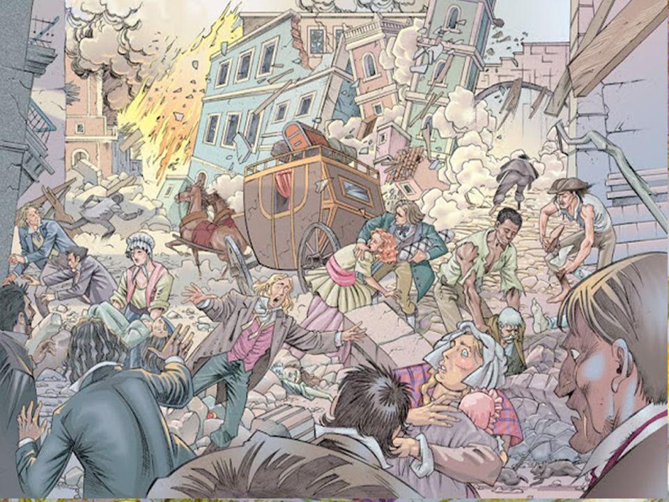 O TERRAMOTO DE 1755 Neste horrível desastre morreram mais de 20 000 pessoas e ficaram em ruínas cerca de 10 000 edifícios, entre eles o Paço da Ribeira.