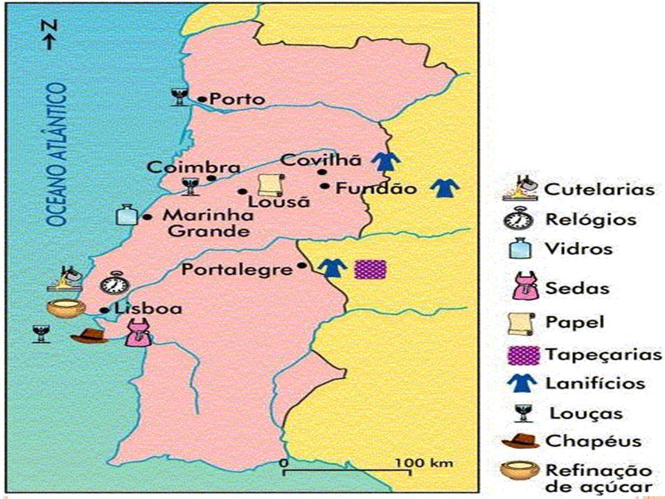 A S REFORMAS POMBALINAS Reformas económicas - Instalação de novas indústrias em Lisboa e noutros locais do país.