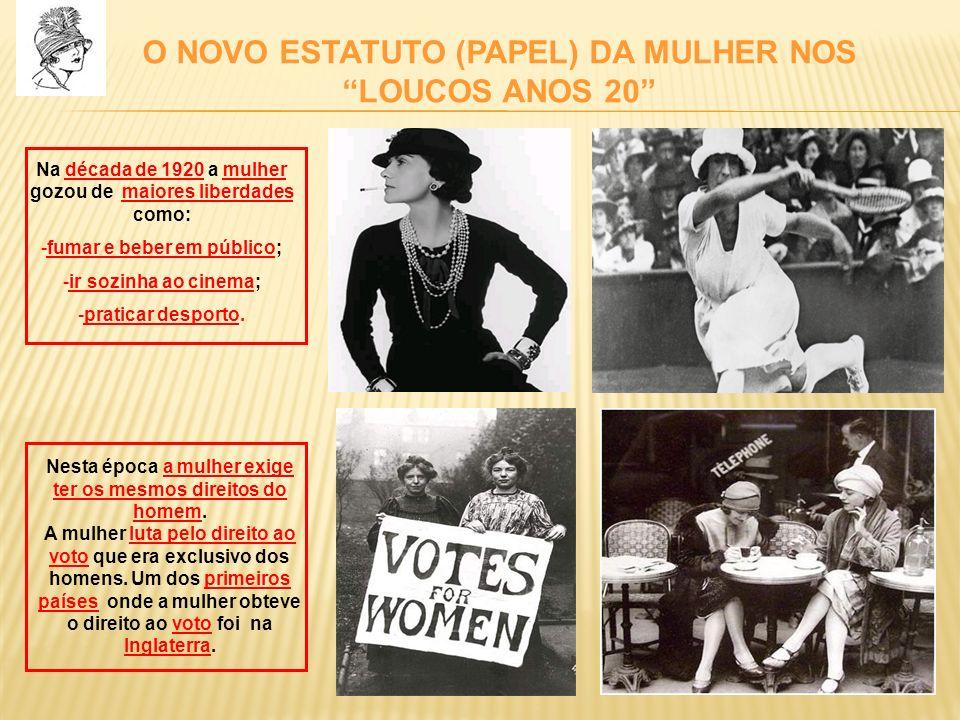 O NOVO ESTATUTO (PAPEL) DA MULHER NOS LOUCOS ANOS 20 Na década de 1920 a mulher gozou de maiores liberdades como: -fumar e beber em público; -ir sozin
