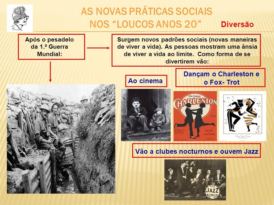 AS NOVAS PRÁTICAS SOCIAIS NOS LOUCOS ANOS 20 Após o pesadelo da 1.ª Guerra Mundial: Surgem novos padrões sociais (novas maneiras de viver a vida). As