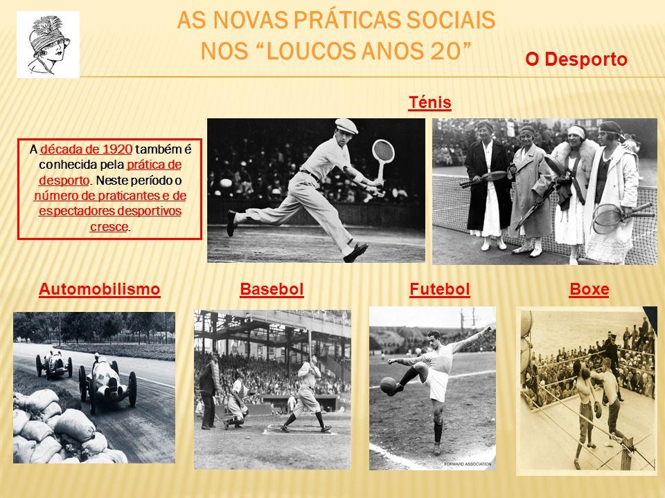 AS NOVAS PRÁTICAS SOCIAIS NOS LOUCOS ANOS 20 A década de 1920 também é conhecida pela prática de desporto. Neste período o número de praticantes e de
