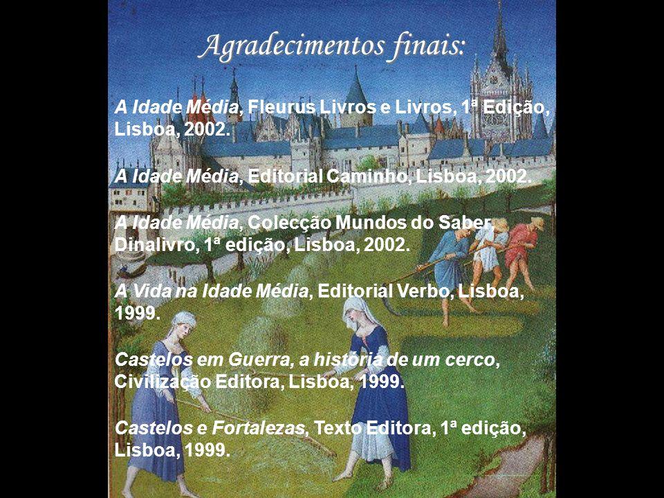 Agradecimentos finais: A Idade Média, Fleurus Livros e Livros, 1ª Edição, Lisboa, 2002. A Idade Média, Editorial Caminho, Lisboa, 2002. A Idade Média,