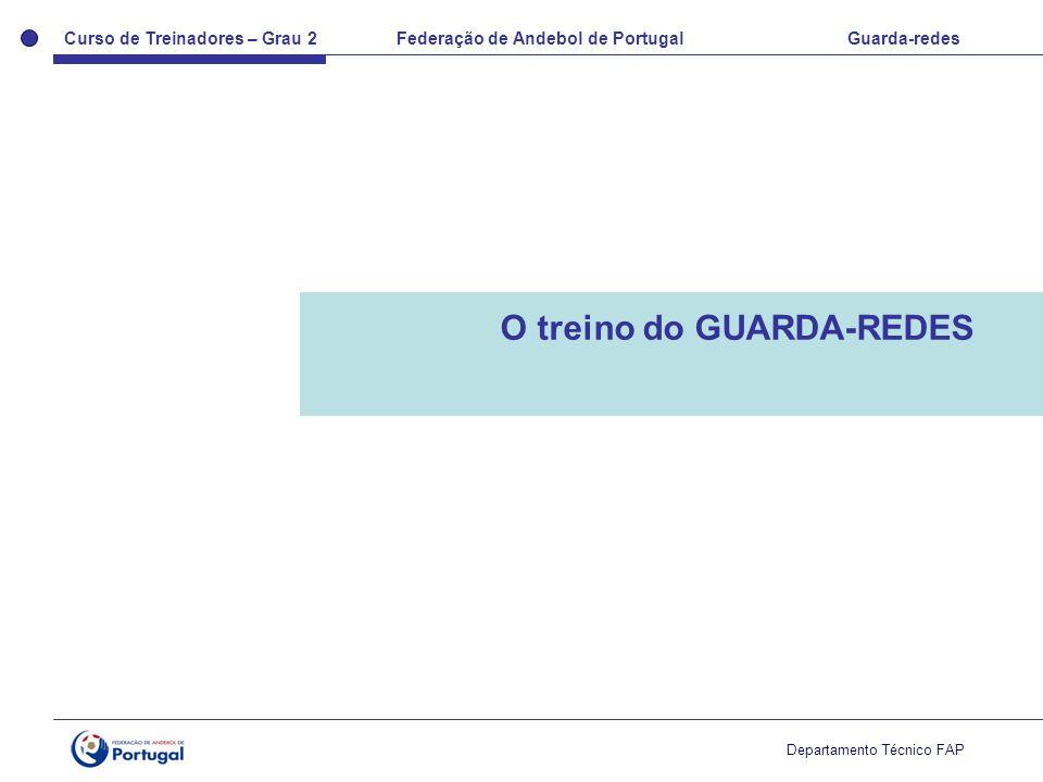 Curso de Treinadores – Grau 2 Federação de Andebol de Portugal Guarda-redes Departamento Técnico FAP O treino do GUARDA-REDES