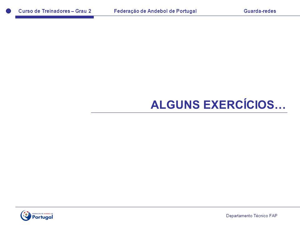 Curso de Treinadores – Grau 2 Federação de Andebol de Portugal Guarda-redes Departamento Técnico FAP ALGUNS EXERCÍCIOS…