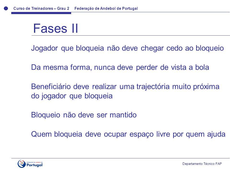 Curso de Treinadores – Grau 2 Federação de Andebol de Portugal Departamento Técnico FAP Fases II Jogador que bloqueia não deve chegar cedo ao bloqueio