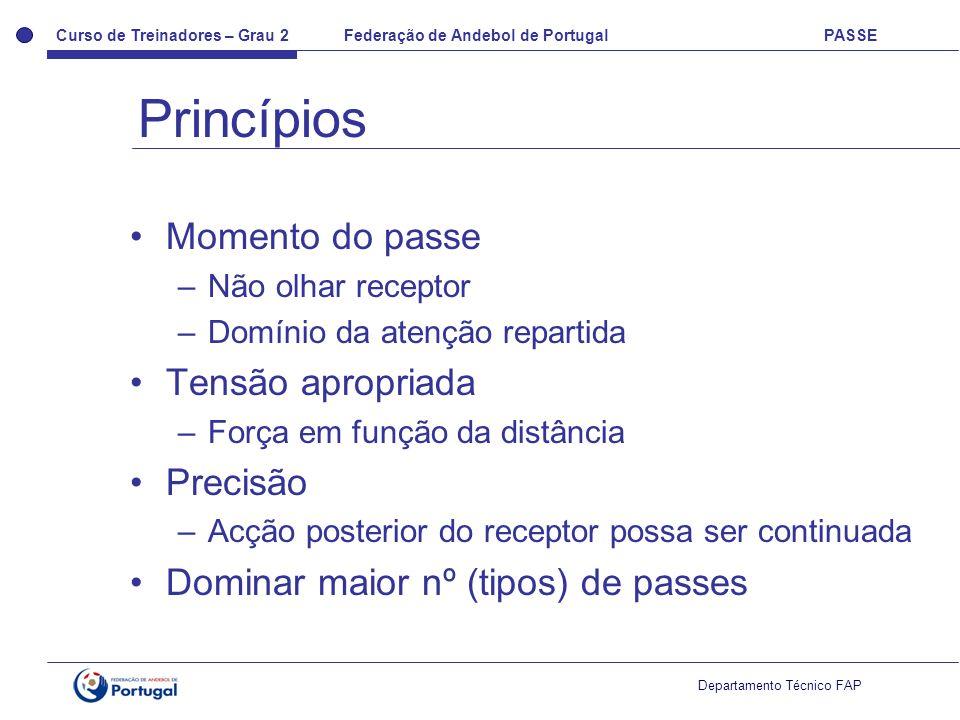 Curso de Treinadores – Grau 2 Federação de Andebol de Portugal PASSE Departamento Técnico FAP Momento do passe –Não olhar receptor –Domínio da atenção