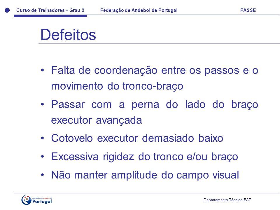 Curso de Treinadores – Grau 2 Federação de Andebol de Portugal PASSE Departamento Técnico FAP Falta de coordenação entre os passos e o movimento do tr