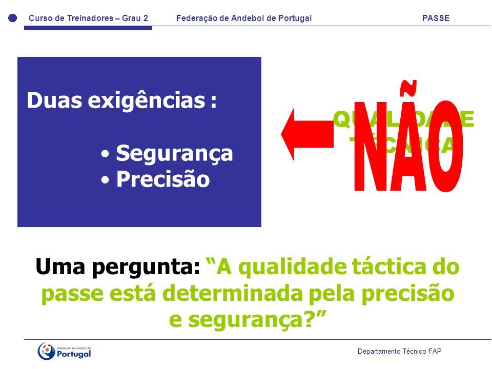 Curso de Treinadores – Grau 2 Federação de Andebol de Portugal PASSE Departamento Técnico FAP Duas exigências : Segurança Precisão Uma pergunta: A qua