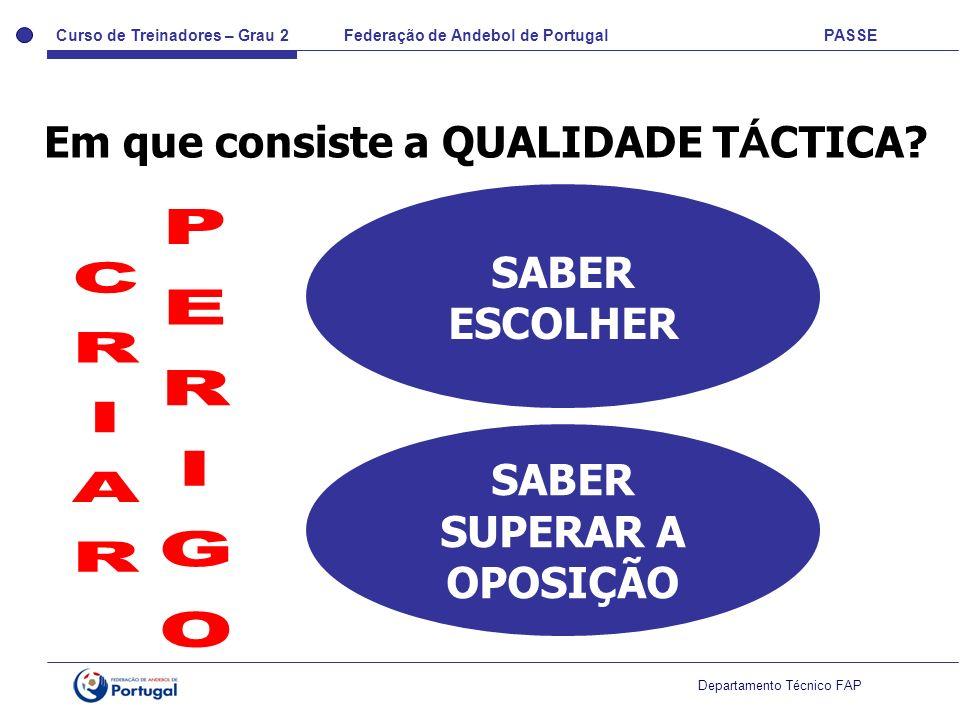 Curso de Treinadores – Grau 2 Federação de Andebol de Portugal PASSE Departamento Técnico FAP Em que consiste a QUALIDADE T Á CTICA? SABER ESCOLHER SA