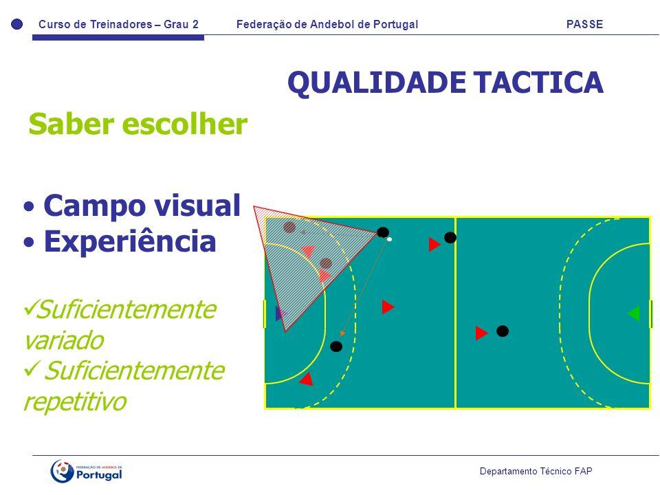 Curso de Treinadores – Grau 2 Federação de Andebol de Portugal PASSE Departamento Técnico FAP QUALIDADE TACTICA Saber escolher Campo visual Experiênci