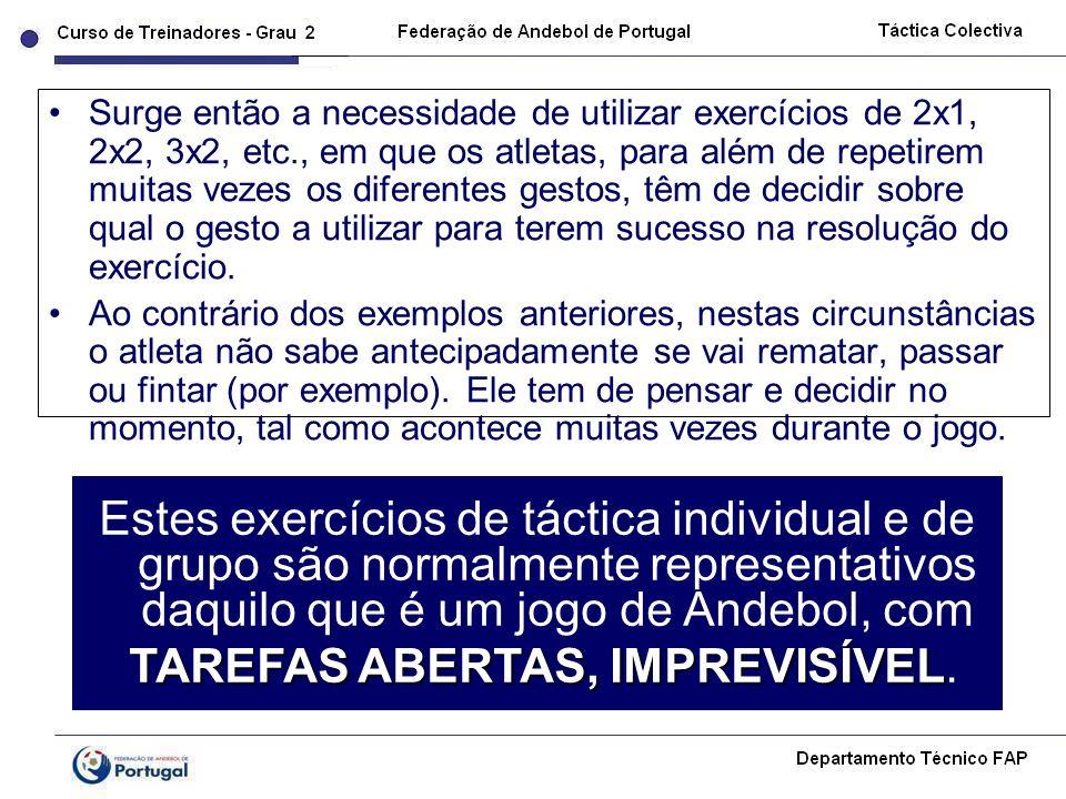 Surge então a necessidade de utilizar exercícios de 2x1, 2x2, 3x2, etc., em que os atletas, para além de repetirem muitas vezes os diferentes gestos,