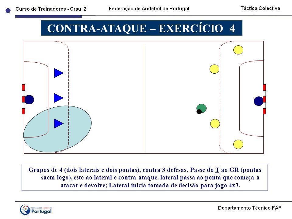 Grupos de 4 (dois laterais e dois pontas), contra 3 defesas. Passe do T ao GR (pontas saem logo), este ao lateral e contra-ataque. lateral passa ao po