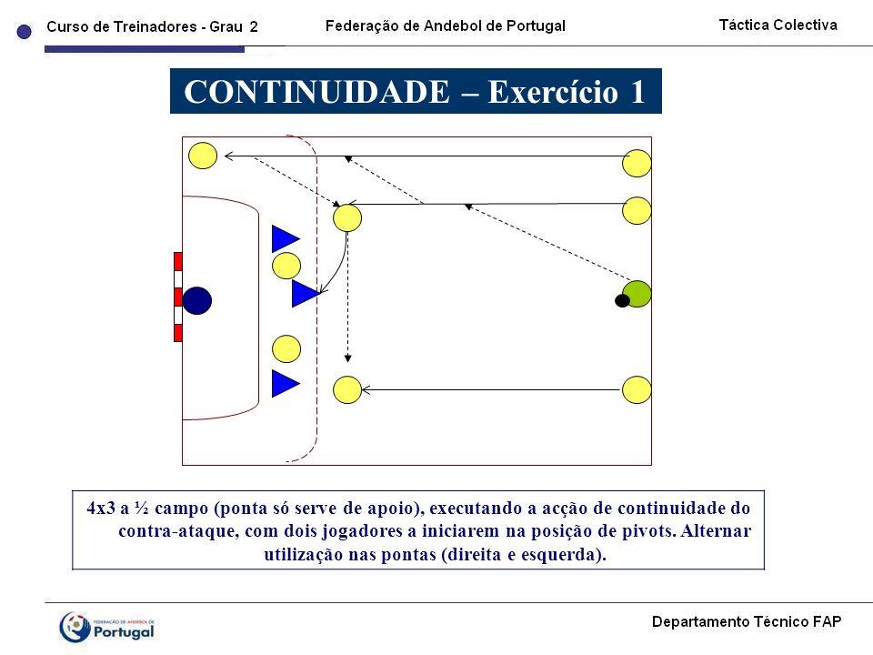 4x3 a ½ campo (ponta só serve de apoio), executando a acção de continuidade do contra-ataque, com dois jogadores a iniciarem na posição de pivots. Alt