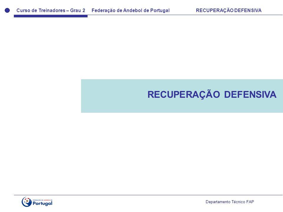 Curso de Treinadores – Grau 2 Federação de Andebol de Portugal RECUPERAÇÃO DEFENSIVA Departamento Técnico FAP RECUPERAÇÃO DEFENSIVA