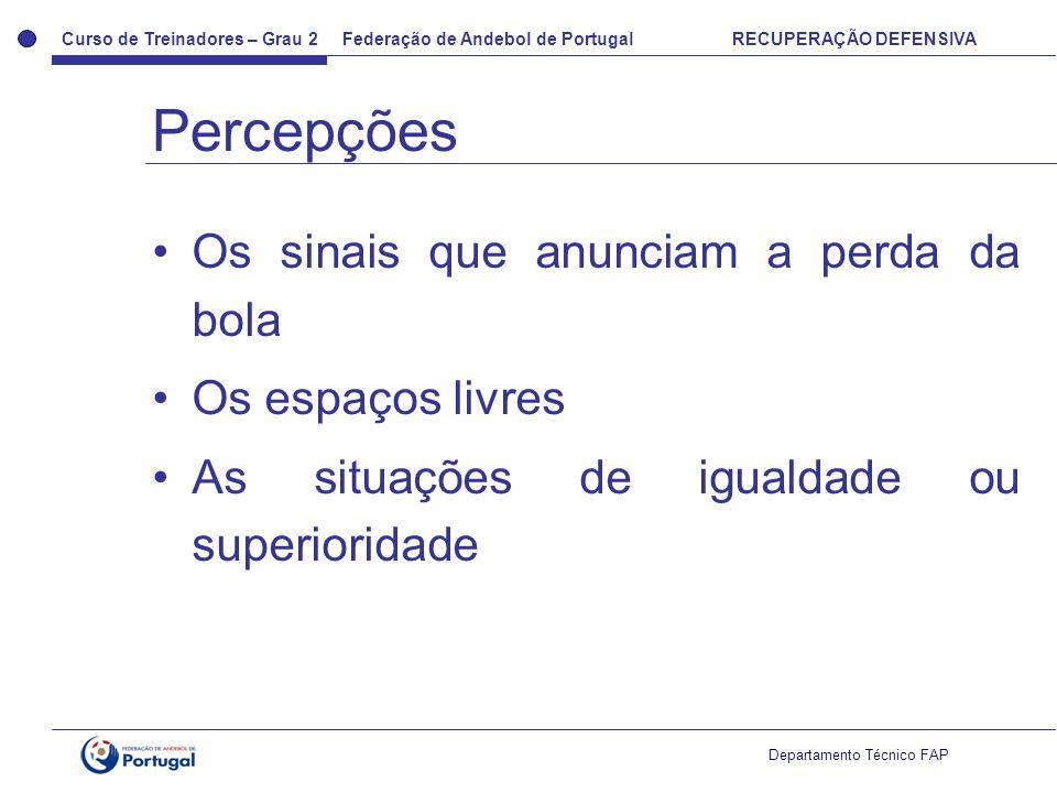 Curso de Treinadores – Grau 2 Federação de Andebol de Portugal RECUPERAÇÃO DEFENSIVA Departamento Técnico FAP Os sinais que anunciam a perda da bola Os espaços livres As situações de igualdade ou superioridade Percepções