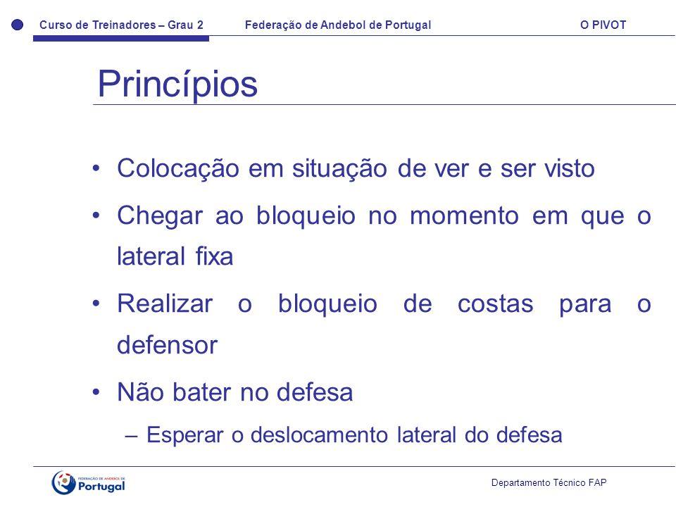 Curso de Treinadores – Grau 2 Federação de Andebol de Portugal O PIVOT Departamento Técnico FAP Colocação em situação de ver e ser visto Chegar ao blo