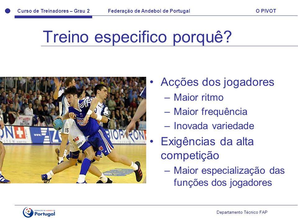 Curso de Treinadores – Grau 2 Federação de Andebol de Portugal O PIVOT Departamento Técnico FAP Acções dos jogadores –Maior ritmo –Maior frequência –I