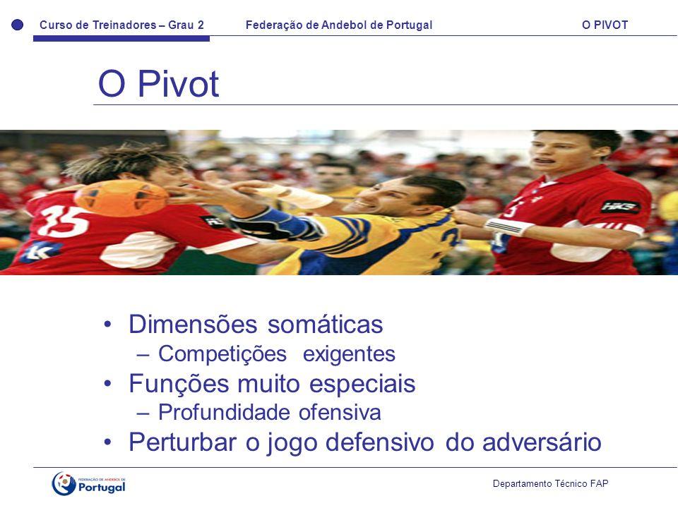 Curso de Treinadores – Grau 2 Federação de Andebol de Portugal O PIVOT Departamento Técnico FAP Dimensões somáticas –Competições exigentes Funções mui