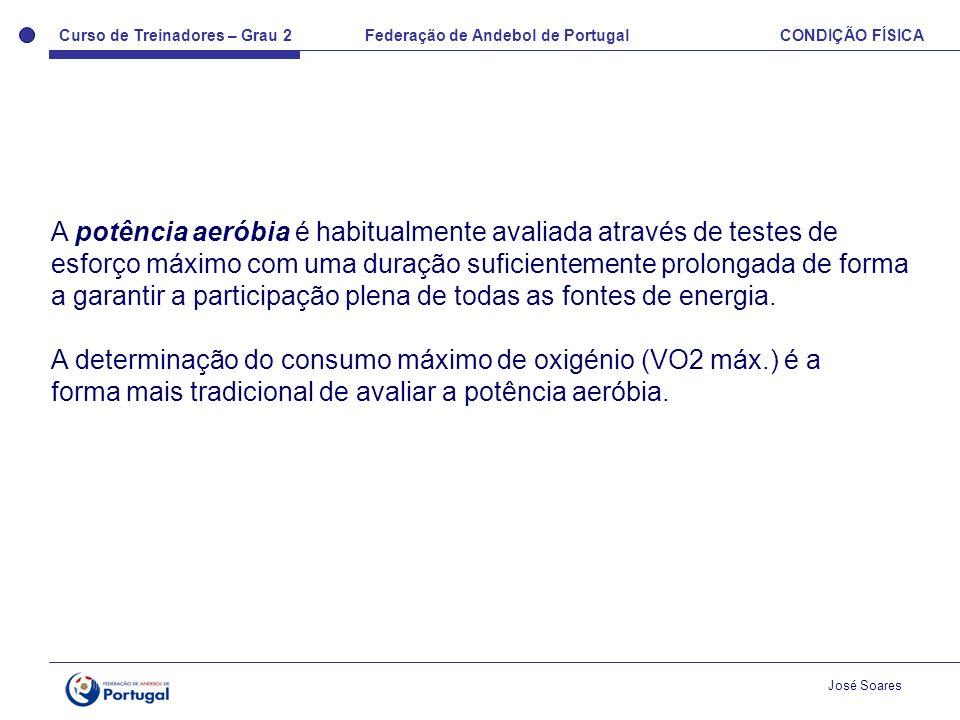 Curso de Treinadores – Grau 2 Federação de Andebol de Portugal CONDIÇÃO FÍSICA José Soares A potência aeróbia é habitualmente avaliada através de test