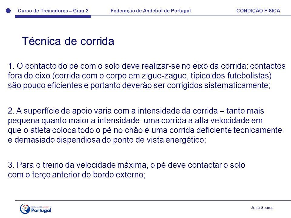 Curso de Treinadores – Grau 2 Federação de Andebol de Portugal CONDIÇÃO FÍSICA José Soares 1. O contacto do pé com o solo deve realizar-se no eixo da