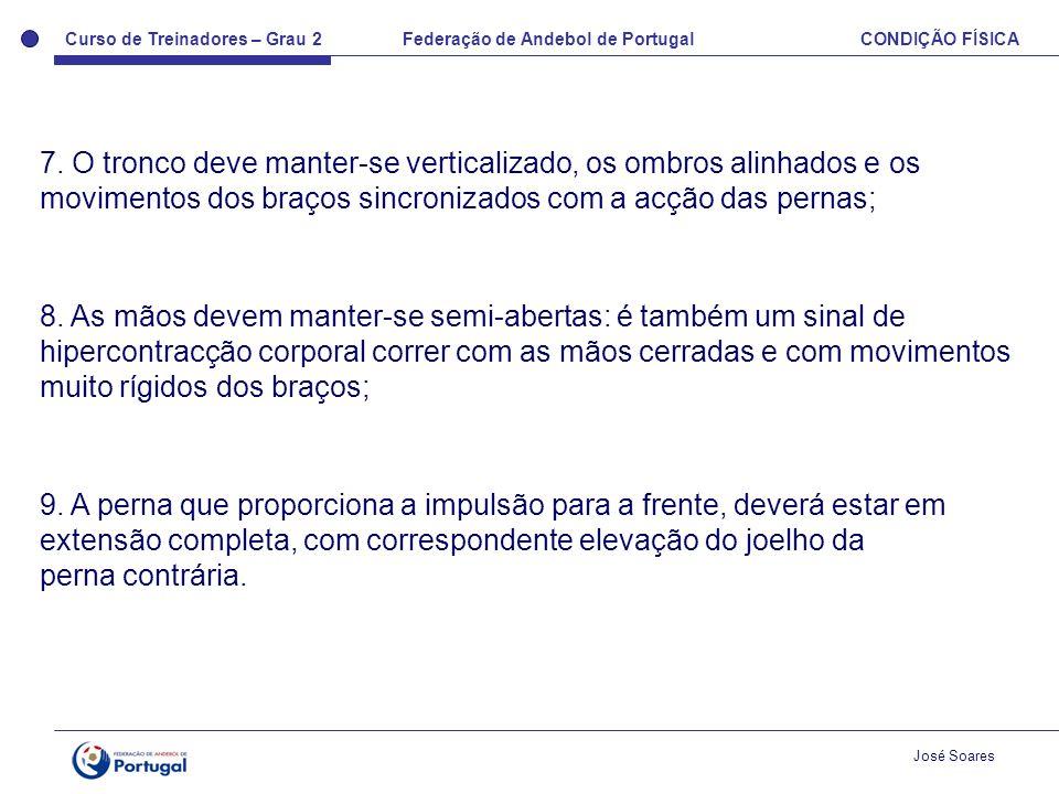 Curso de Treinadores – Grau 2 Federação de Andebol de Portugal CONDIÇÃO FÍSICA José Soares 7. O tronco deve manter-se verticalizado, os ombros alinhad