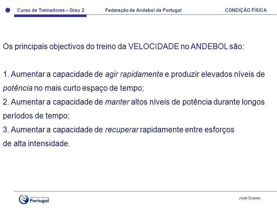 Curso de Treinadores – Grau 2 Federação de Andebol de Portugal CONDIÇÃO FÍSICA José Soares Os principais objectivos do treino da VELOCIDADE no ANDEBOL