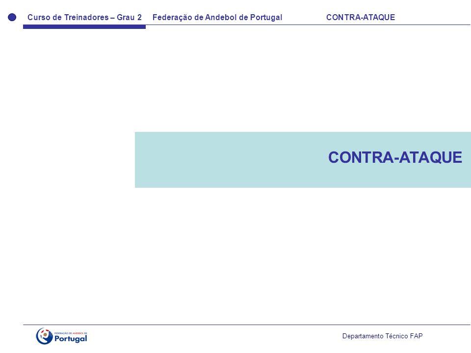 Curso de Treinadores – Grau 2 Federação de Andebol de Portugal CONTRA-ATAQUE Departamento Técnico FAP CONTRA-ATAQUE