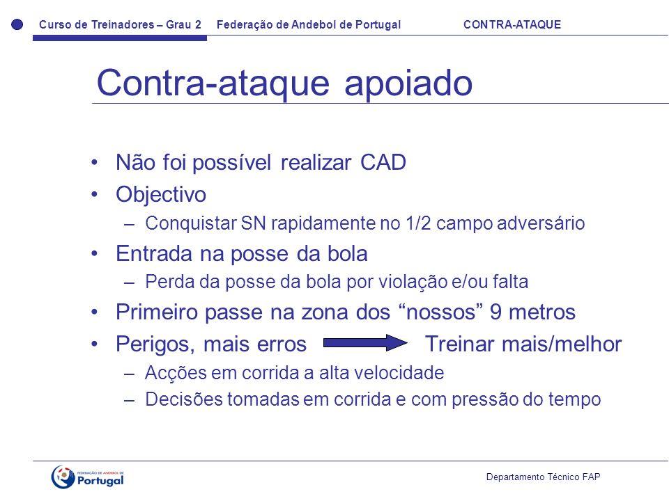 Curso de Treinadores – Grau 2 Federação de Andebol de Portugal CONTRA-ATAQUE Departamento Técnico FAP Não foi possível realizar CAD Objectivo –Conquis