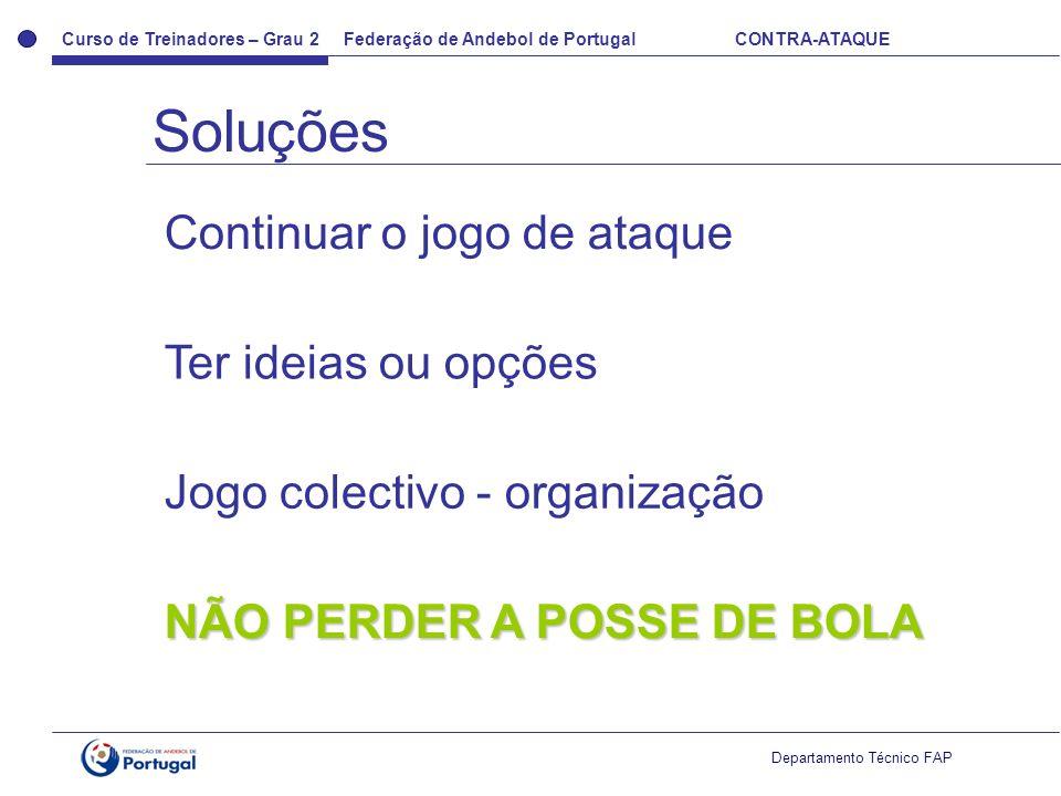 Curso de Treinadores – Grau 2 Federação de Andebol de Portugal CONTRA-ATAQUE Departamento Técnico FAP Continuar o jogo de ataque Ter ideias ou opções