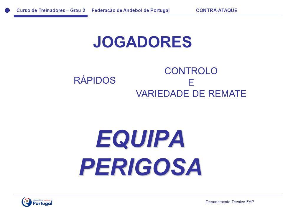 Curso de Treinadores – Grau 2 Federação de Andebol de Portugal CONTRA-ATAQUE Departamento Técnico FAP EQUIPA PERIGOSA JOGADORES RÁPIDOS CONTROLO E VAR
