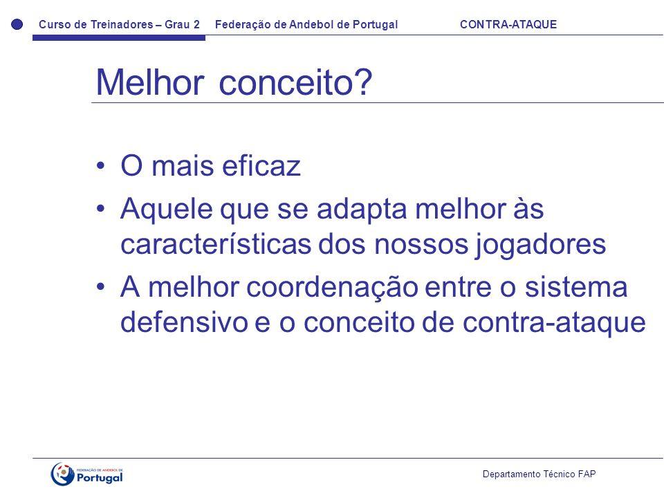 Curso de Treinadores – Grau 2 Federação de Andebol de Portugal CONTRA-ATAQUE Departamento Técnico FAP O mais eficaz Aquele que se adapta melhor às car
