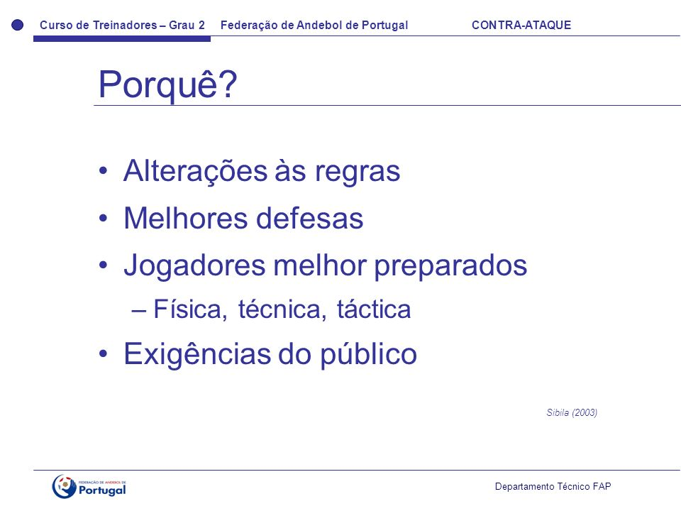 Curso de Treinadores – Grau 2 Federação de Andebol de Portugal CONTRA-ATAQUE Departamento Técnico FAP Alterações às regras Melhores defesas Jogadores