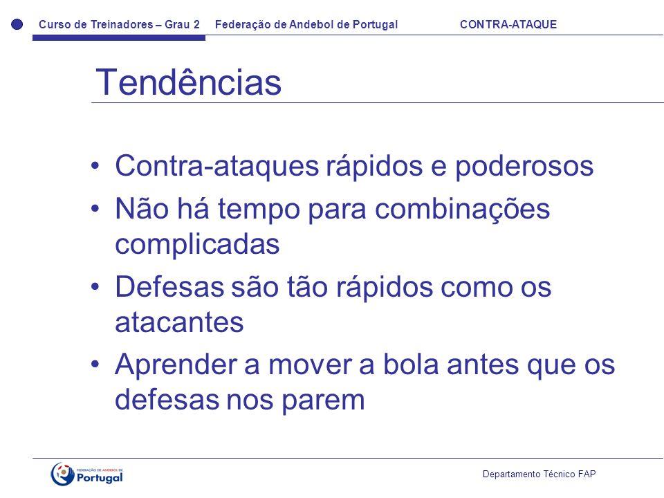Curso de Treinadores – Grau 2 Federação de Andebol de Portugal CONTRA-ATAQUE Departamento Técnico FAP Contra-ataques rápidos e poderosos Não há tempo