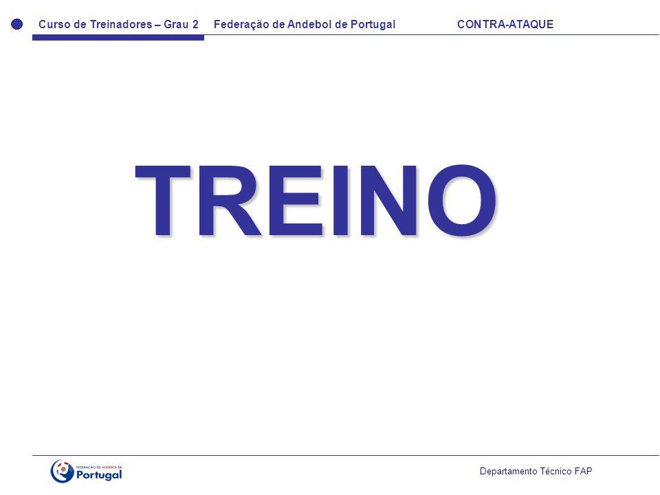 Curso de Treinadores – Grau 2 Federação de Andebol de Portugal CONTRA-ATAQUE Departamento Técnico FAP TREINO