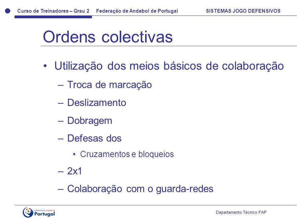 Curso de Treinadores – Grau 2 Federação de Andebol de Portugal SISTEMAS JOGO DEFENSIVOS Departamento Técnico FAP Utilização dos meios básicos de colab