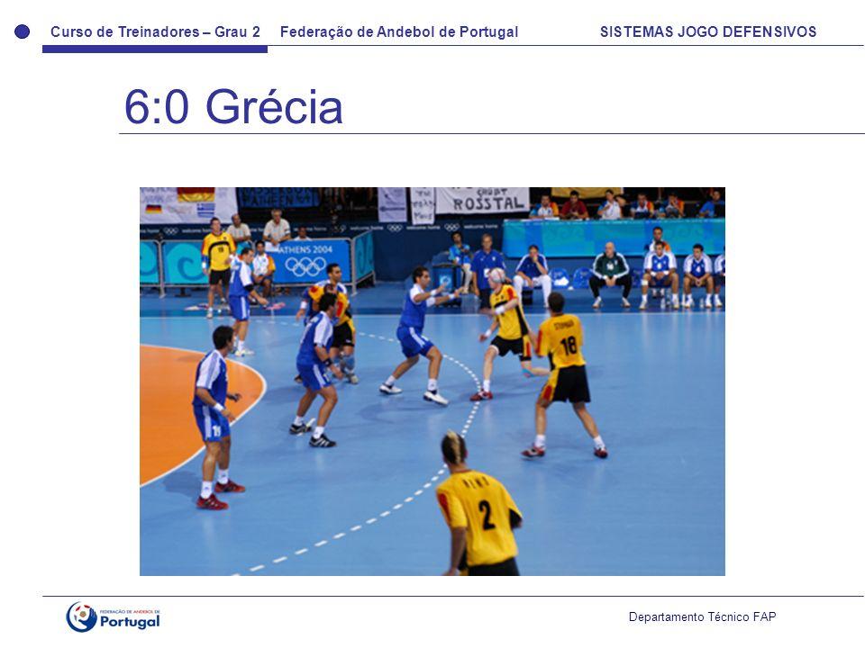 Curso de Treinadores – Grau 2 Federação de Andebol de Portugal SISTEMAS JOGO DEFENSIVOS Departamento Técnico FAP 6:0 Grécia