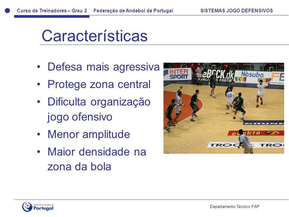 Curso de Treinadores – Grau 2 Federação de Andebol de Portugal SISTEMAS JOGO DEFENSIVOS Departamento Técnico FAP Defesa mais agressiva Protege zona ce