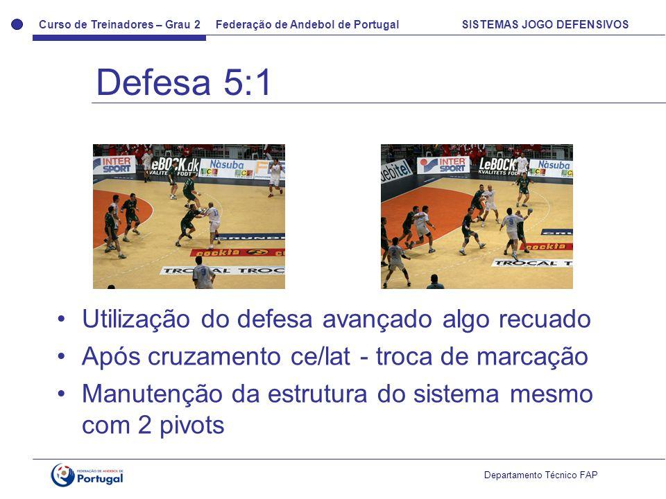 Curso de Treinadores – Grau 2 Federação de Andebol de Portugal SISTEMAS JOGO DEFENSIVOS Departamento Técnico FAP Utilização do defesa avançado algo re